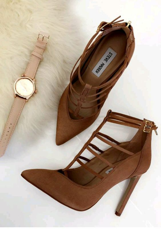 Brown shoes and beige watch