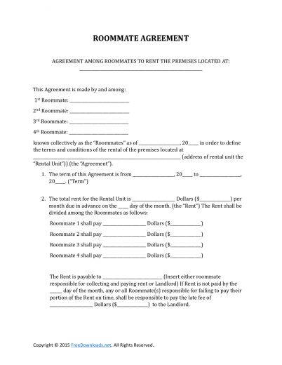Roommate Agreement Template Roommate Contract Room Rental - roommate rental agreement