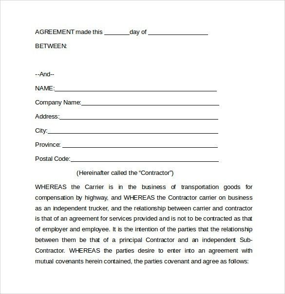 Simple Lease Agreement Free 15 Basic Rental Agreement Templates - sample owner operator lease agreement