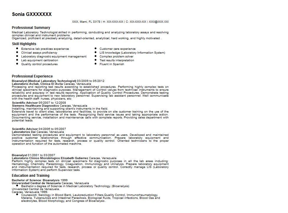 Sample Resume For Medical Technologist Download Medical
