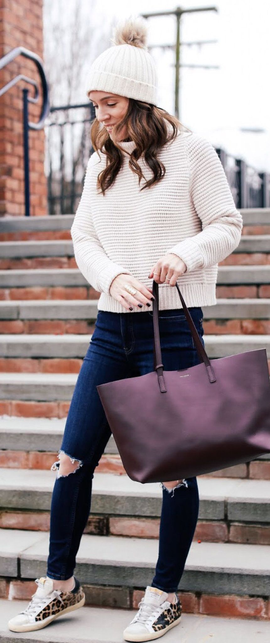 white and black stripe sweater #winter #outfits