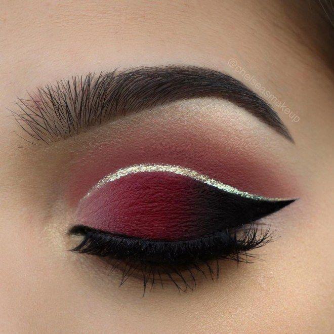 Maquillaje de ojos burgundy con glitter cut crease #makeup #maquillaje #burgundy #glittercutcrease
