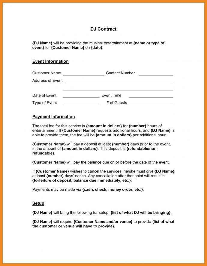 Maintenance Contract Example Computer Support Service Contract - dj contract template