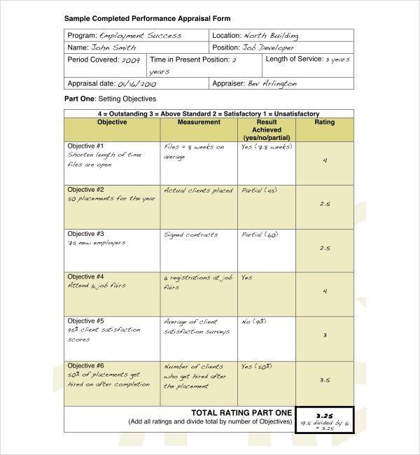 Sample Employee Appraisal Form | Lukex.co