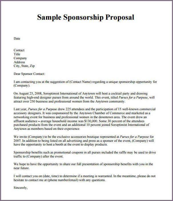 Proposal Letter For Sponsorship Sample For Event 40 Sponsorship - event proposal letters