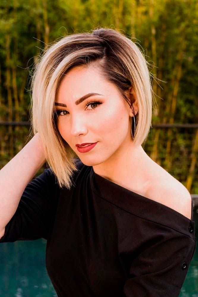 Asymmetrical Blonde Bob For Straight Hair #ombrehair #straighthair ★ Wavy, straight asymmetrical bob hairstyles for short and medium hair without and with bangs can be found in our gallery. Be edgy and stylish! #glaminati #lifestyle #asymmetricalbob