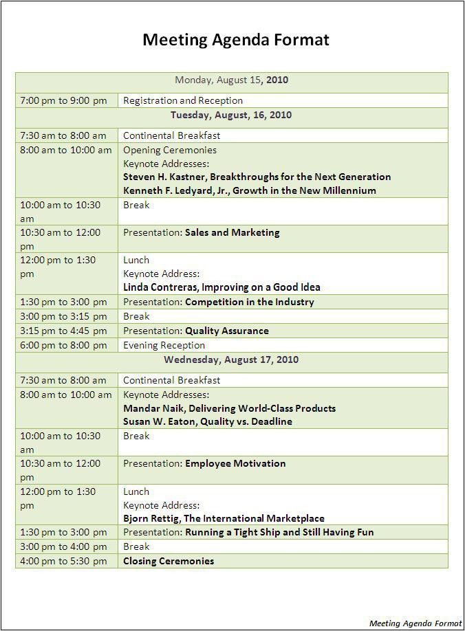 Agenda Formats. Weekly Manageru0027S Meeting Agenda Weekly Meeting .  Agenda Formats
