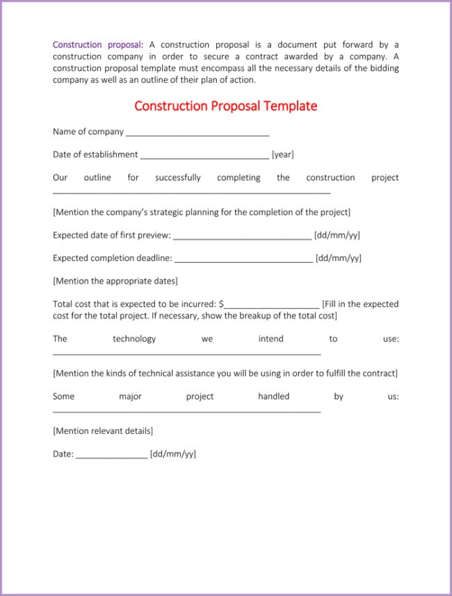 Construction Proposal Template Word Construction Proposal - proposal contract template