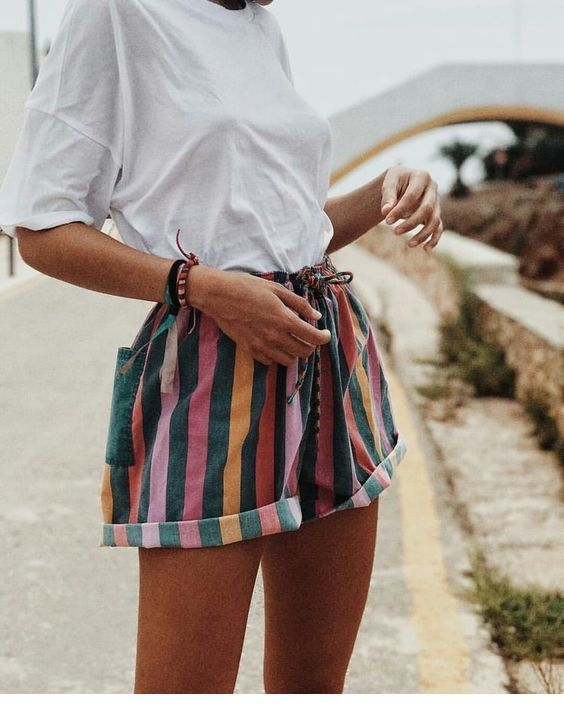 Simple white t-shirt and colorful shorts