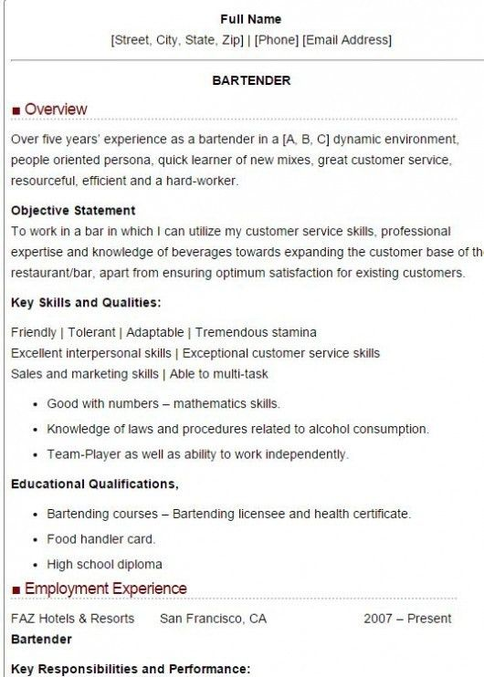Bartender Sample Resume Unforgettable Bartender Resume Examples
