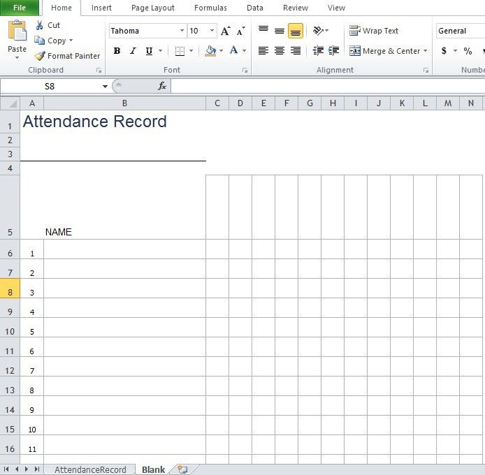 Office Attendance Sheet Excel Free Download Attendance Sheet For - attendance spreadsheet template excel