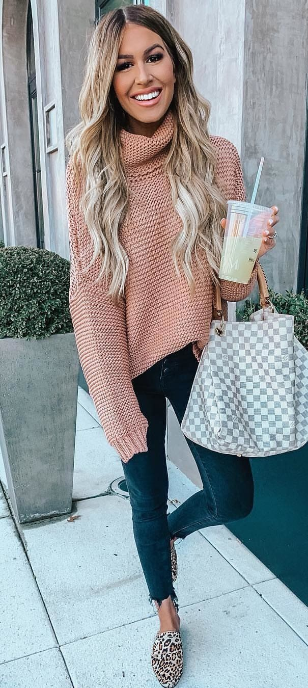 pink knit sweater #spring #outfits