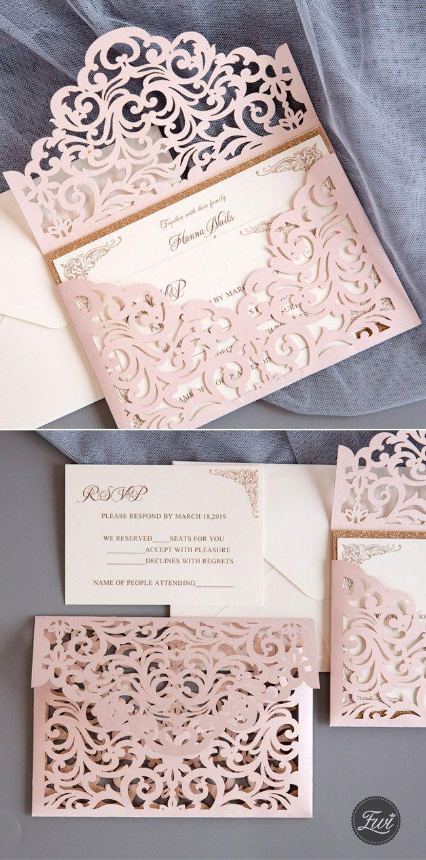 chic blush laser cut wedding invitation with rose gold glitter backer