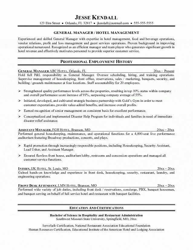 Sample Hotel Desk Clerk Resume Unforgettable Front