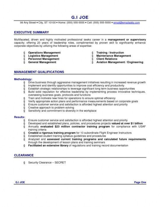 Executive Summary Resume Example Executive Resume Example