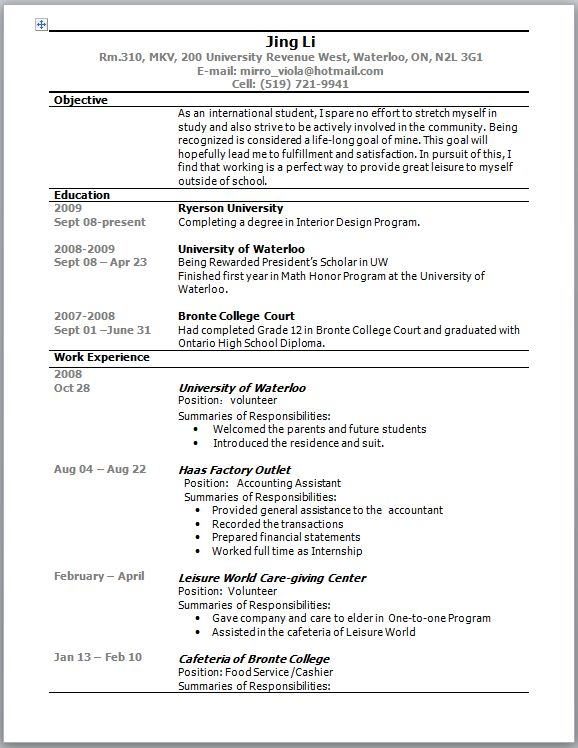 Examples Of Resumes Australia - Examples of Resumes