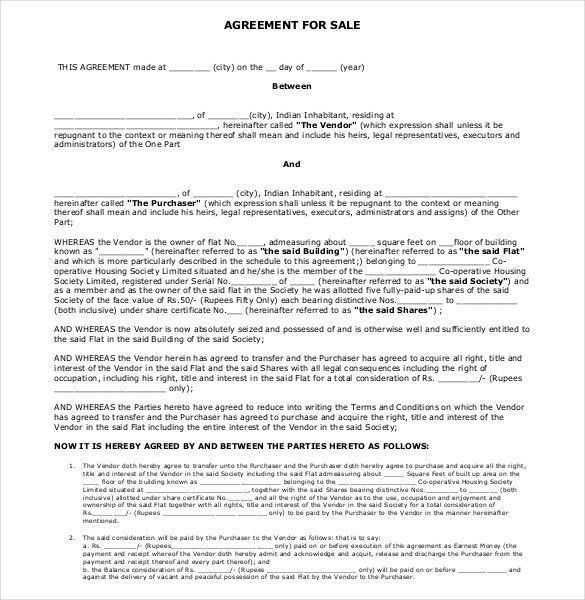 Sample Purchase Agreement For House Purchase Agreement 8 Download - sample purchase and sale agreement template