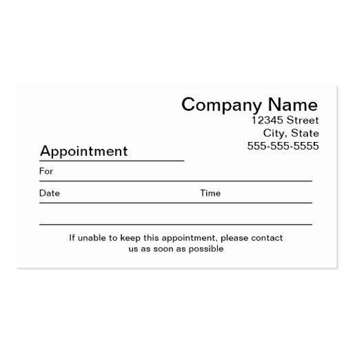 Reminder Card Template Free Basic Appointment Reminder Card From - sample appointment card template