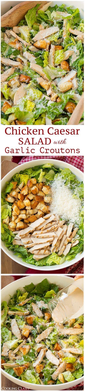 Chicken Caesar Salad with Garlic Croutons and Light Caesar Dressing