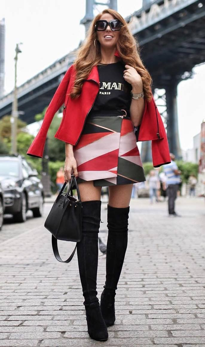 best outfit idea for this fall / red jacket bag over knee boots top colorful skirt