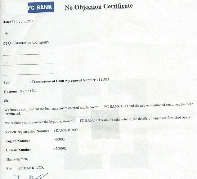 Sample no objection letter certificate noc1 - no objections certificate