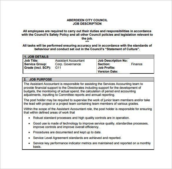 accountant assistant duties