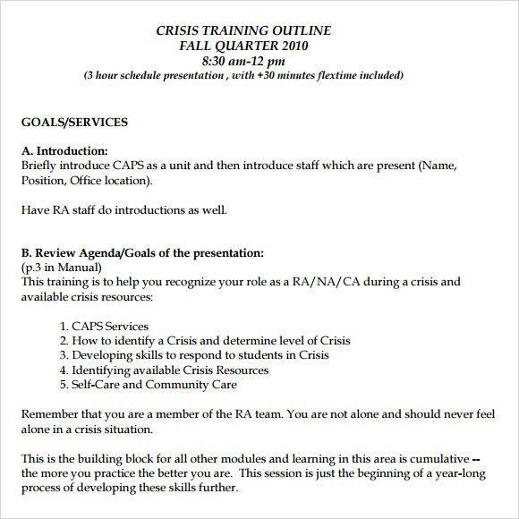 Professional Manual Template 10 Training Manual Template Free - training outline template