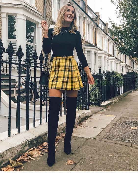 I love this yellow plaid skirt in this combo