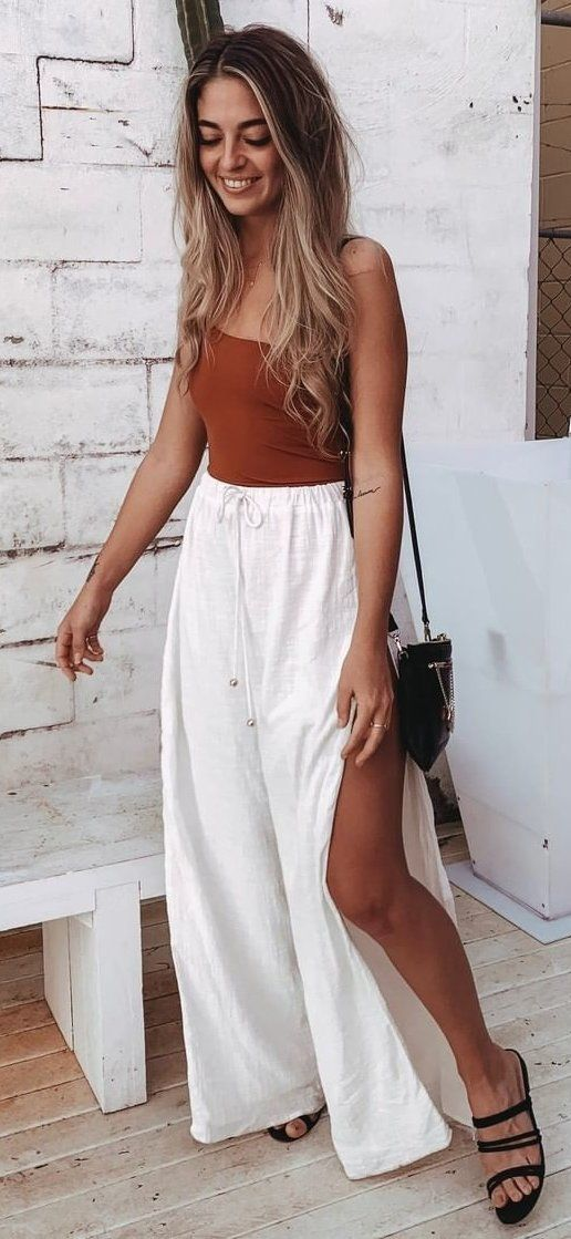 white wide leg side slit pants and brown top #summer #outfits
