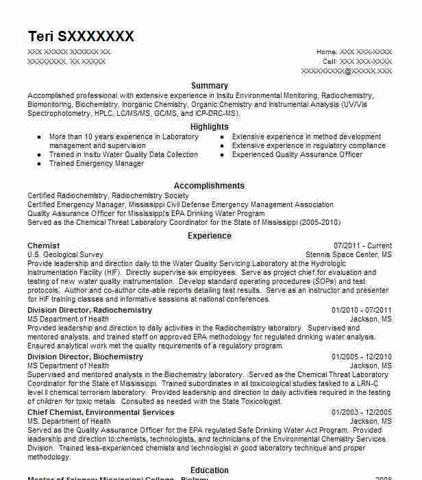 Chemistry Resume Example - Examples of Resumes - analytical chemist resume