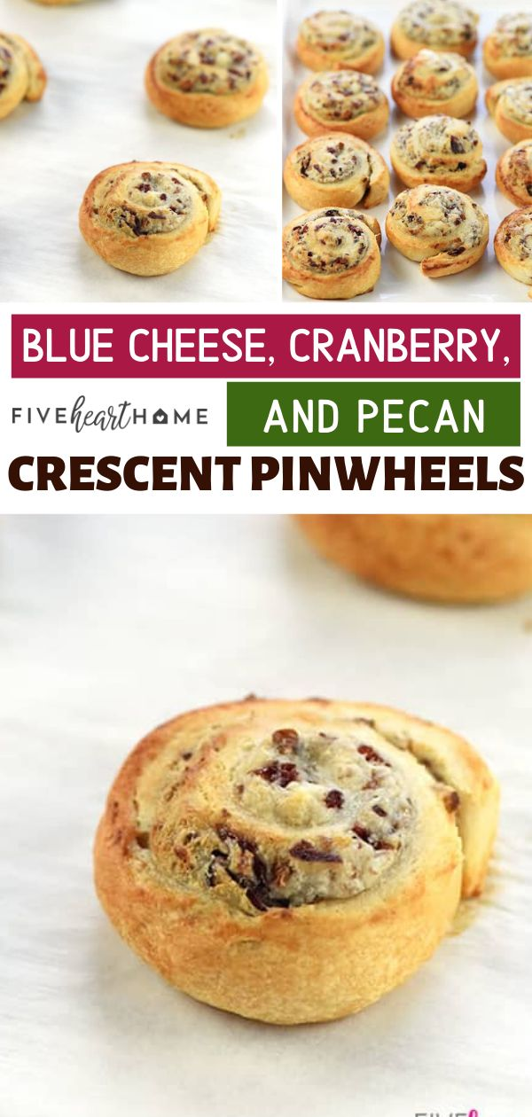 Blue Cheese, Cranberry, & Pecan Crescent Pinwheels are an easy holiday appetizer featuring refrigerated crescent rolls and a flavorful cream cheese filling! This recipe is delicious, warm, and easy to whip up. Save this easy crescent roll recipe for later!