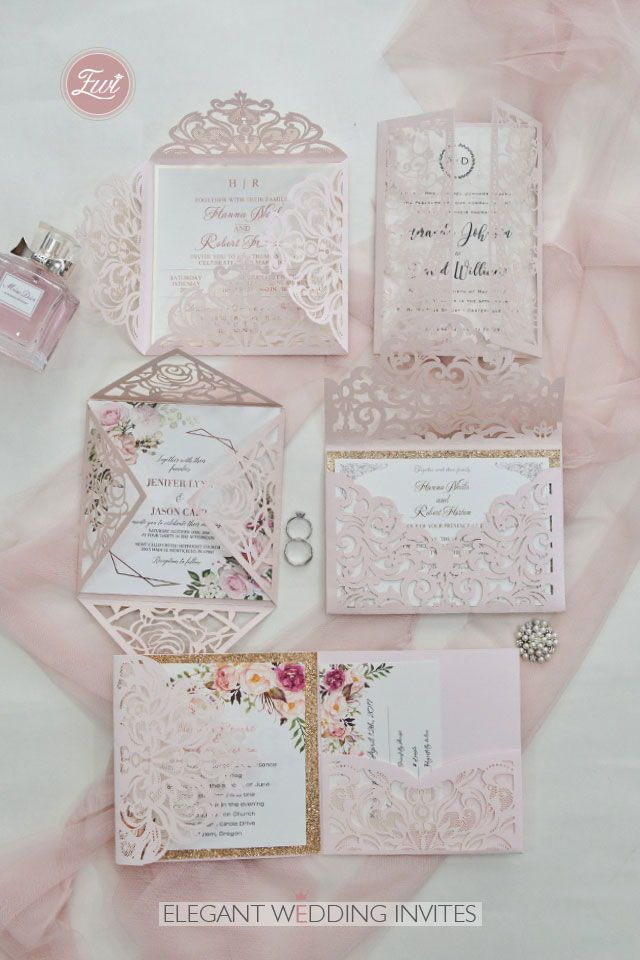 #EWI blush pink and ivory glitter laser cut wedding invitation ideas