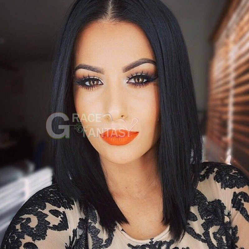 Unprocessed virgin brazilian glueless lace front short human hair wigs with baby hair short straight bob lace front wig for black women