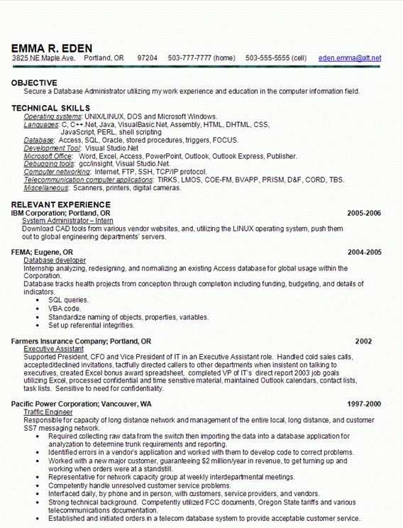 Sample Database Administrator Resume Database Administrator  Resume Database