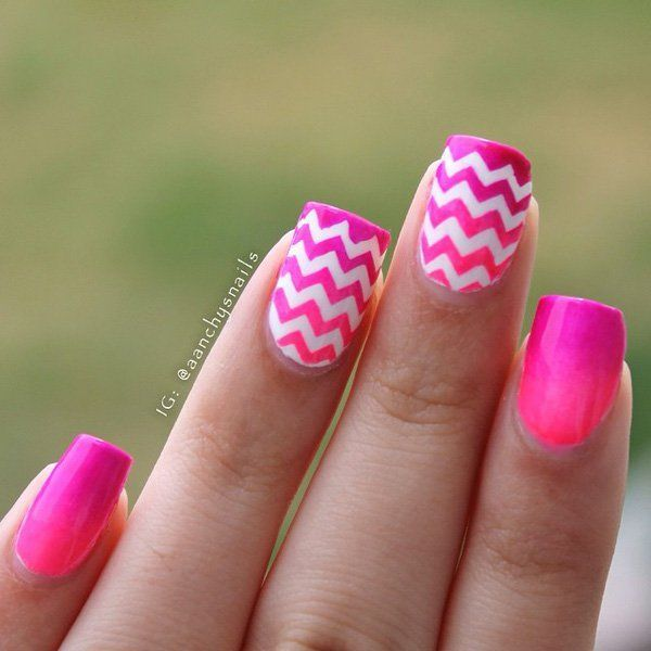 A gradient inspired pink nail art design. Play with various shades of pink with a gradient base coat. Add zigzag white lines on top for detail.