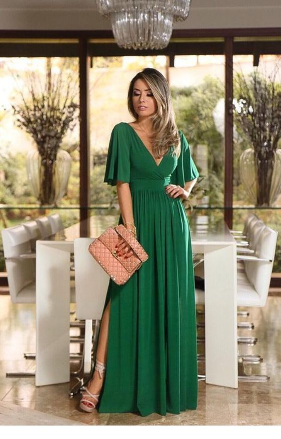 Beautiful long green dress style