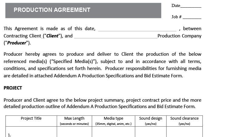 Film Contract Templates Industry Contract Template Free Contract - videography contract template