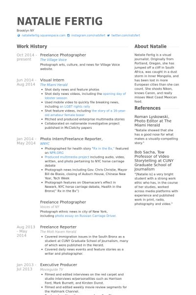 Freelance Photographer Resume Examples - Examples of Resumes