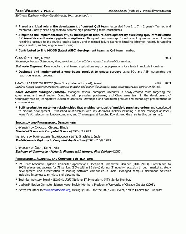 Resume Templates Software Professional Software Engineer Resume