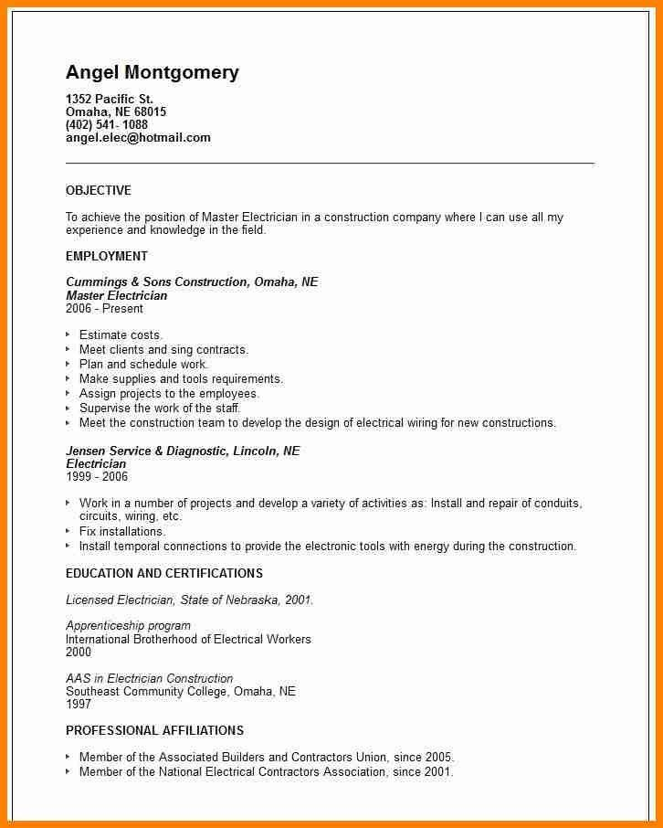 journeyman electrician resume examples