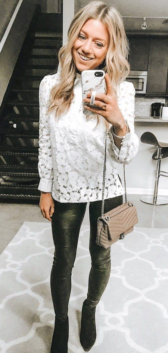 white and black long sleeve shirt #spring #outfits