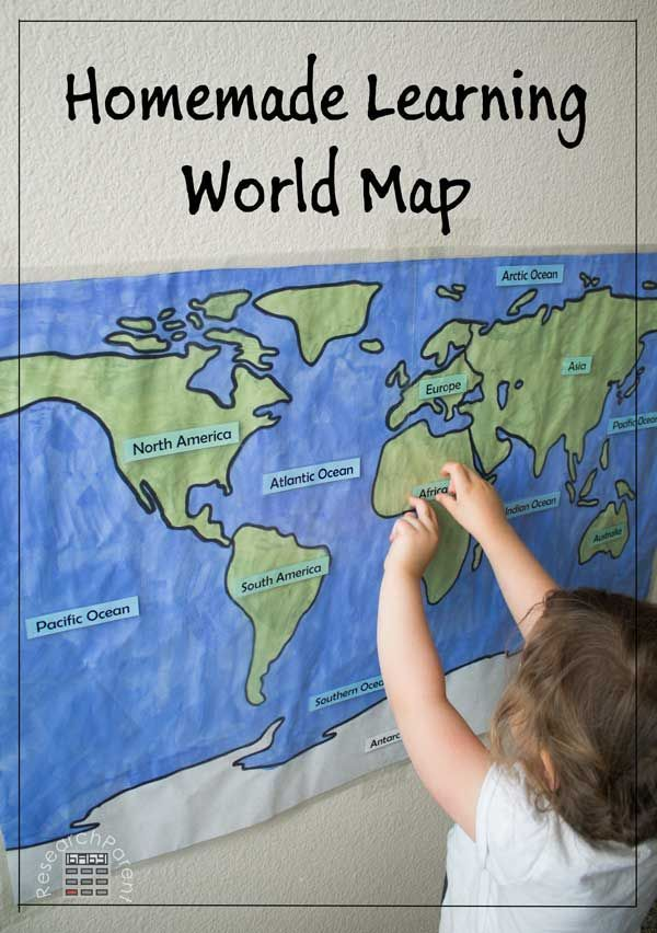 Geography Activity for Preschool, Kindergarten, and Early Elementary - Includes free, printable template - Help even the youngest kids start to learn the locations of the continents and oceans with this hands on activity. via @researchparent
