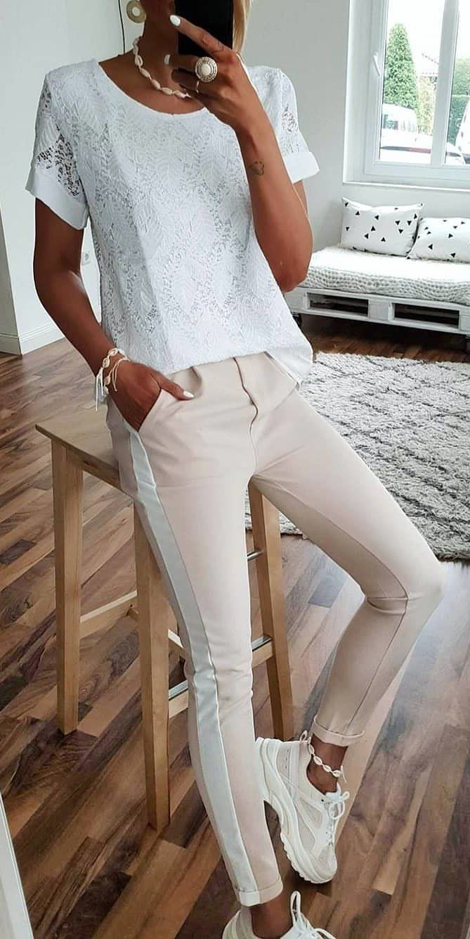 white shirt #spring #outfits