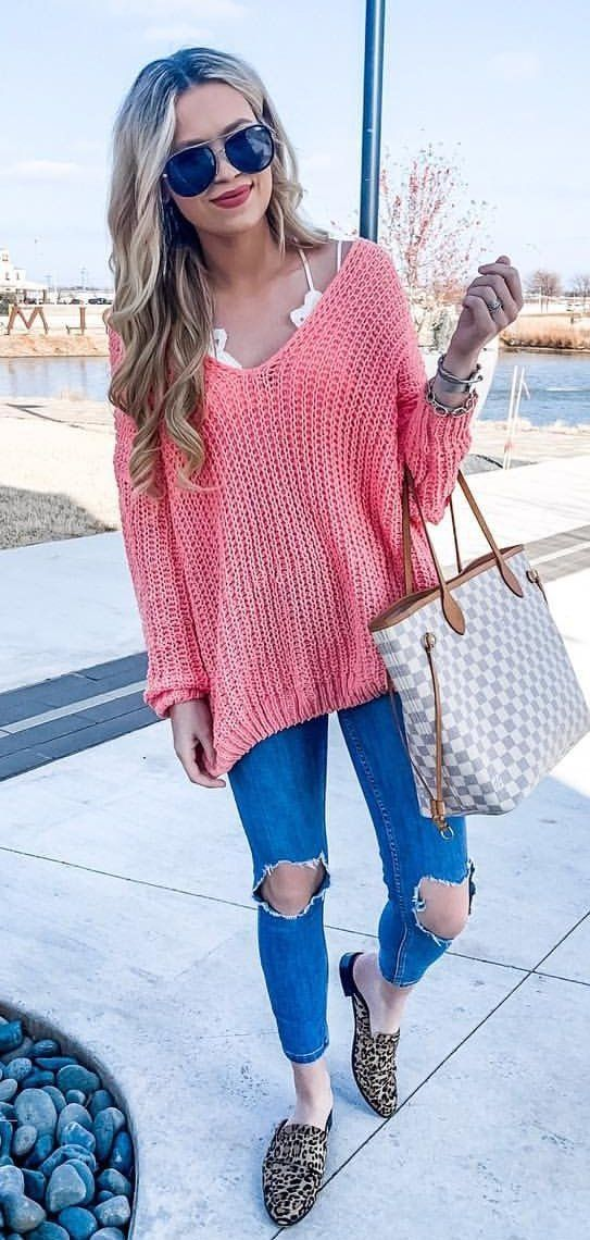 pink knitted sweater #winter #outfits