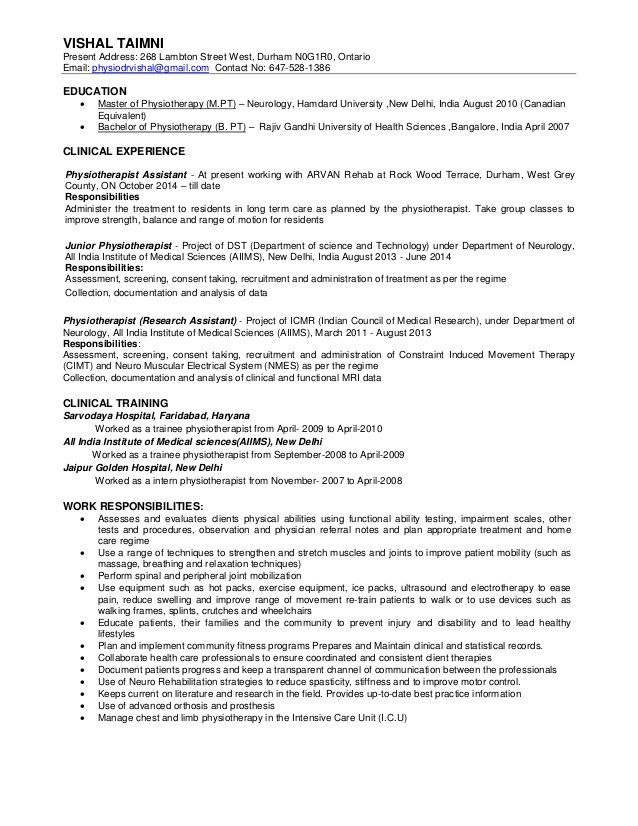Physiotherepist Resume Physiotherapist Resume Samples