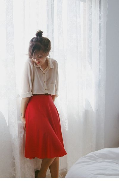 Shirt and a red skirt