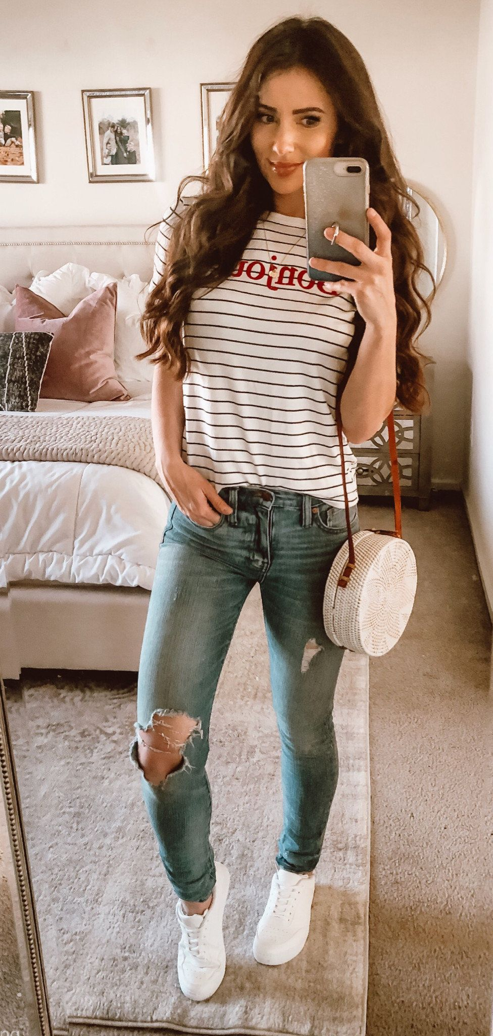 grey denim ripped jeans #spring #outfits
