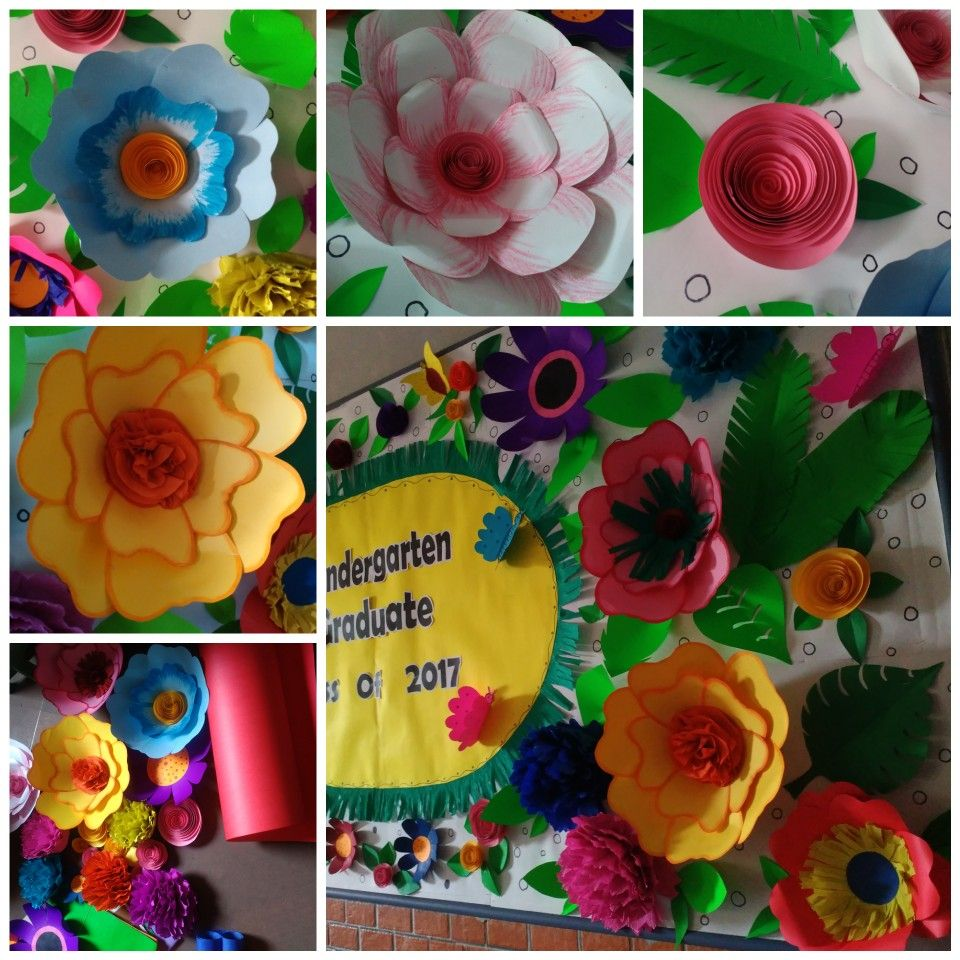 How To Make 3d Paper Flowers Giant 3d Flowers On Bulletin Board