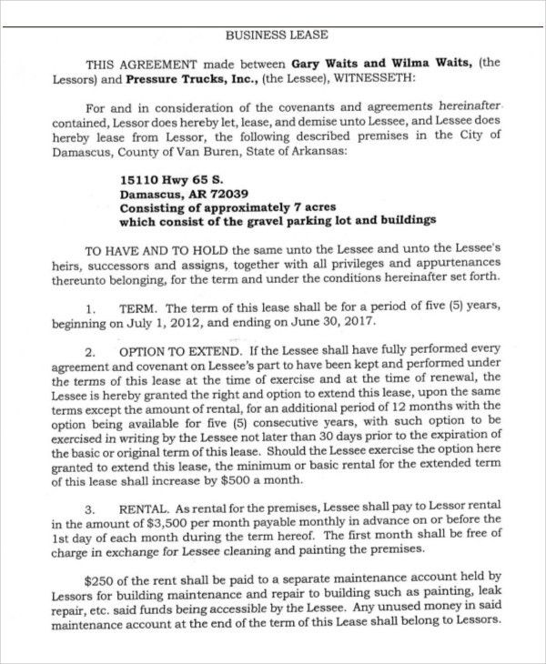 Sample Business Lease 13 Commercial Lease Agreement Templates - parking agreement template