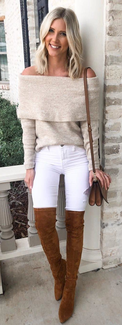 beige off-shoulder long-sleeved blouse